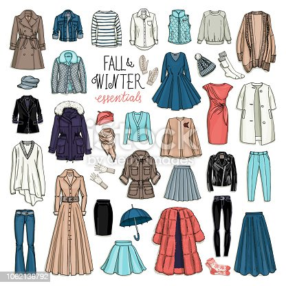 Vector illustration set of women's fall and winter fashion clothes. Coats, dresses, skirts, jackets, trousers, hats, gloves, socks isolated on white.