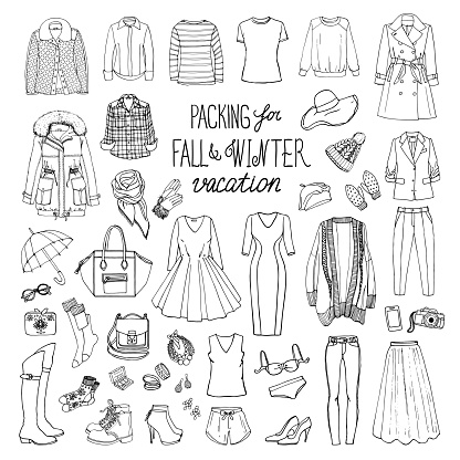 Fall and winter fashion collection of clothes