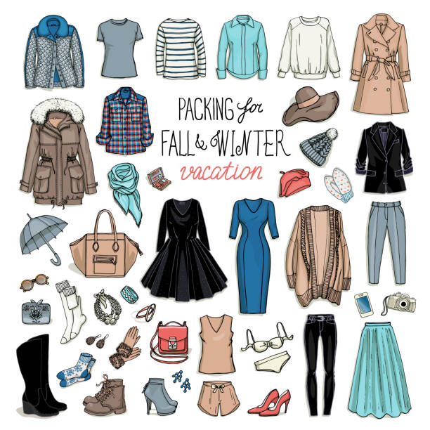 Fall and winter fashion collection of clothes vector art illustration