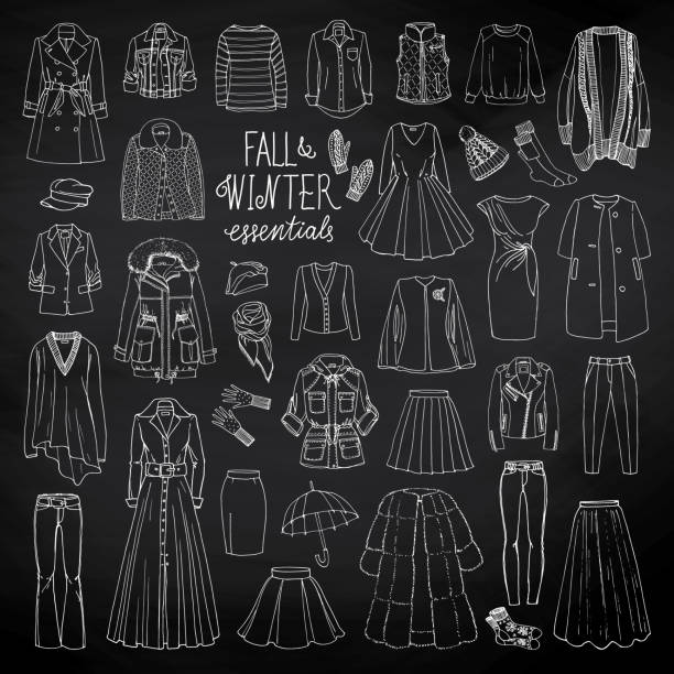 Fall and winter fashion collection vector art illustration