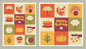 Set of Fall / Autumn season greeting cards, tall and square formats.
