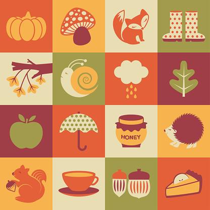 Fall / Autumn Season square icons set