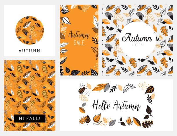 Fall, Autumn season vector illustration, invitation, banner, background set . Vector templates. Fall, Autumn season vector illustration, banner background set autumn drawings stock illustrations