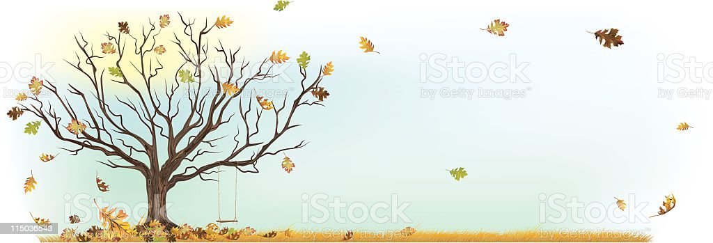 Fall Autumn Tree with Swing and leaves blowing in wind vector art illustration