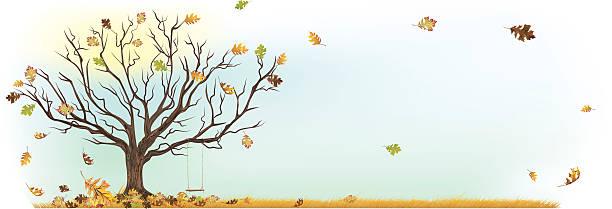 Altalena albero d'autunno con caduta foglie e mandare a vento - illustrazione arte vettoriale
