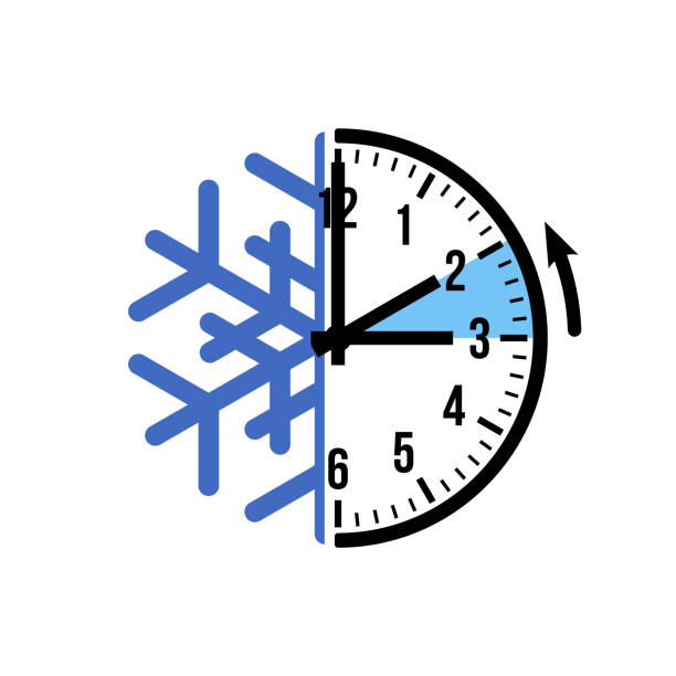 fall back 1 hour, vector icon with snowflake - spring forward stock illustrations, clip art, cartoons, & icons