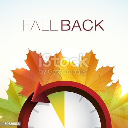 Vector illustration of some colorful Fall leaves and a clock, illustrating Daylight Savings Time.
