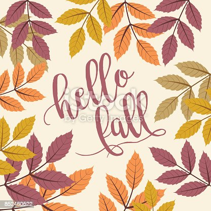 istock Fall Background with Autumn Walnut Leaves, hello fall Text 852460522