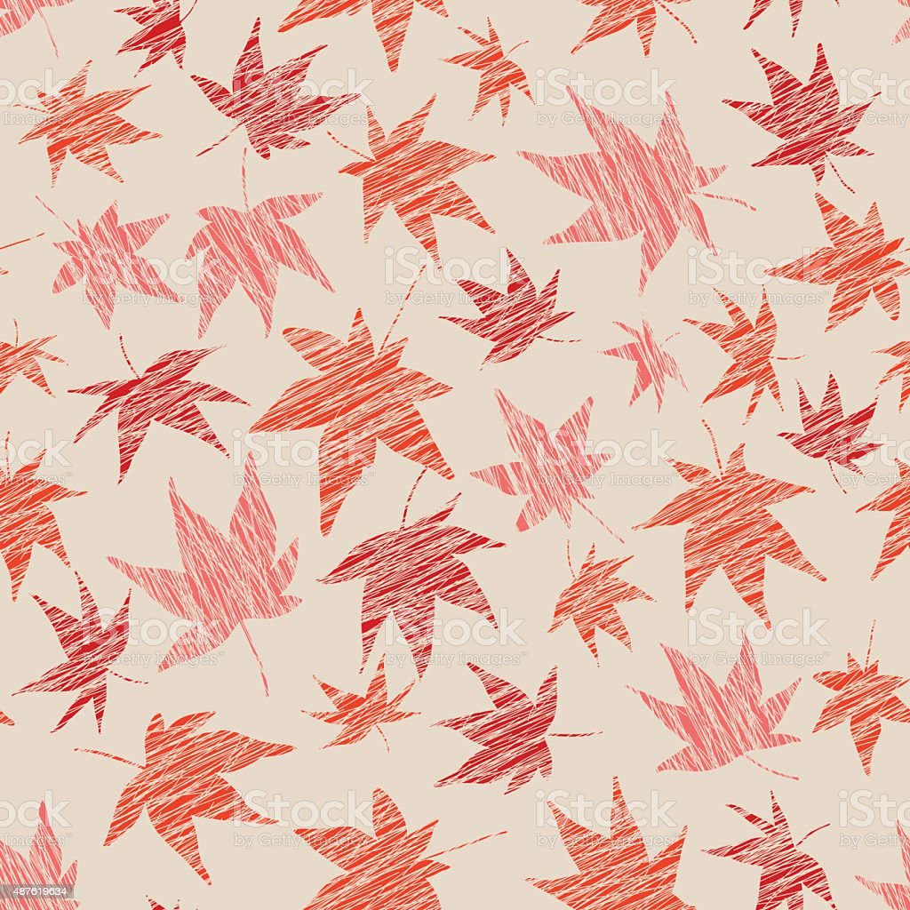 Fall background with scratched maple leaves. Seamless pattern. vector art illustration