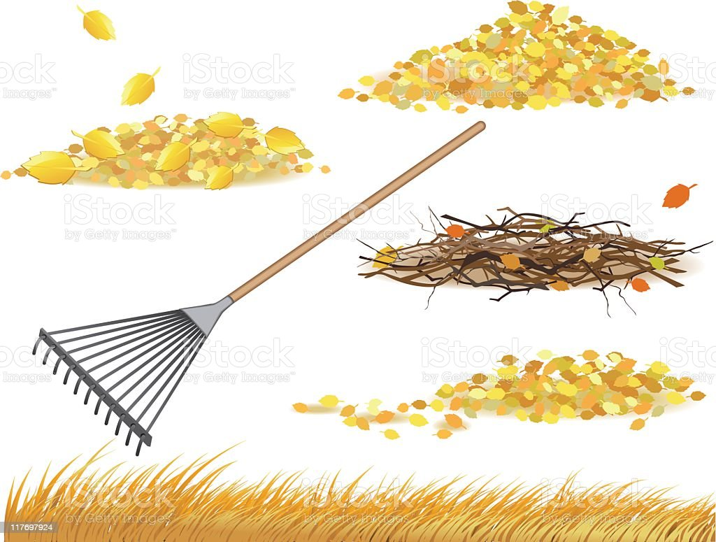 Fall Cleanup vector art illustration