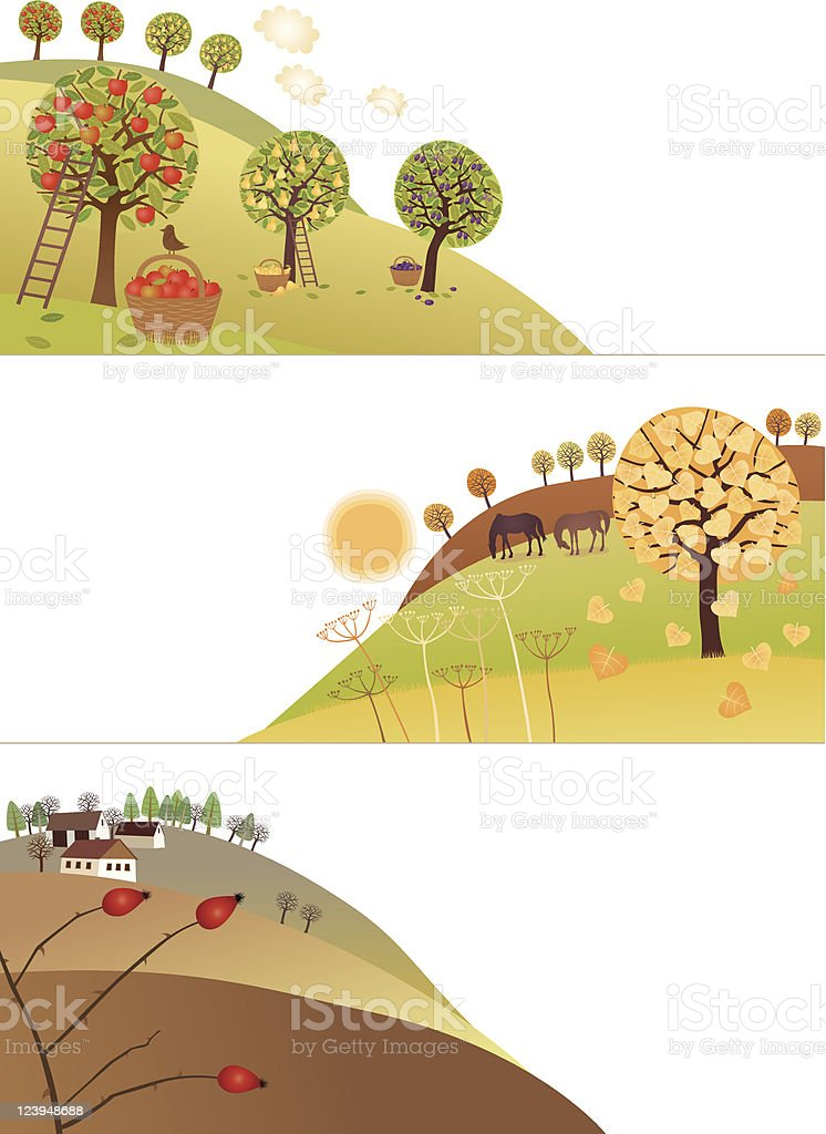 Fall corners vector art illustration