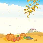 Vector illustration of an autumn farm.