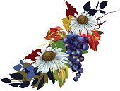 White Swan Daisies, grapes and fall leaves.