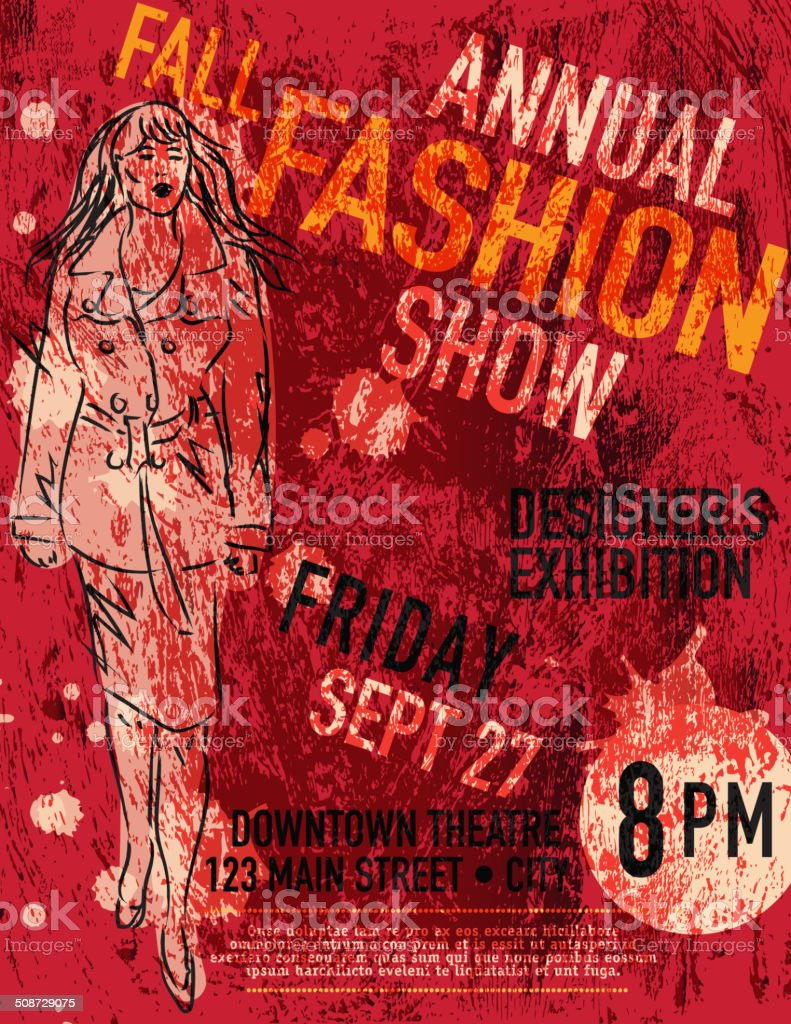 Fall Fashion and style show poster design template vector art illustration