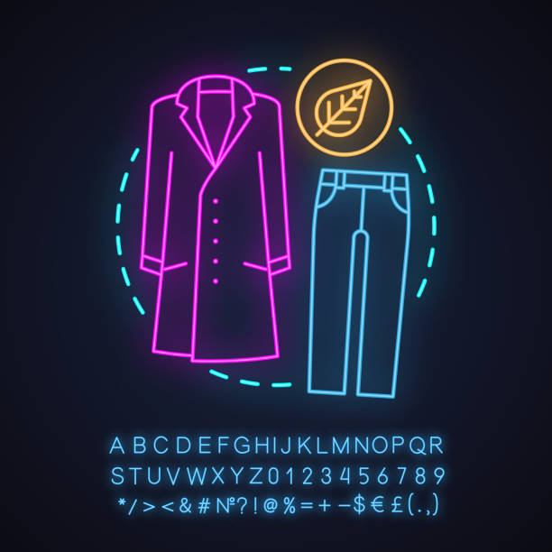 herbst mode neon licht konzept-symbol - neonhosen stock-grafiken, -clipart, -cartoons und -symbole