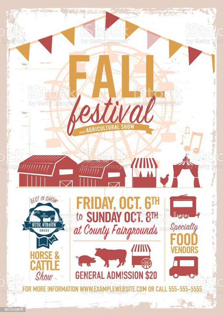 Fall festival agricultural show poster design template vector art illustration