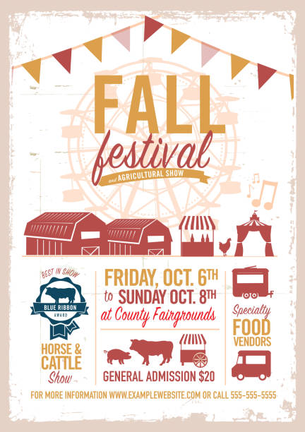 Fall festival agricultural show poster design template Fall festival agricultural show poster design template. Includes sample text. Easy to edit. farmer's market stock illustrations