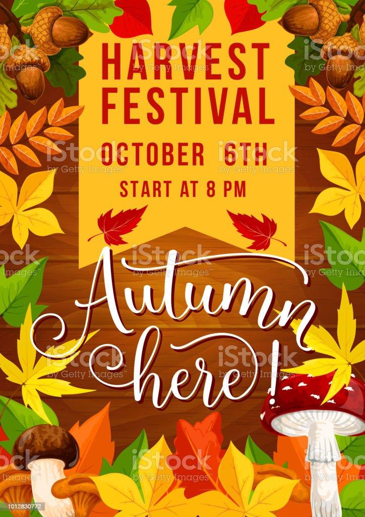 Herbstfest Und Herbst Ernte Fest Einladung Stock Vektor Art Und Mehr