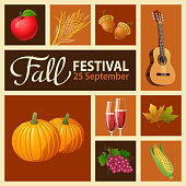 It's time to celebrate the season with autumn leaves, pumpkins, wheat, acorn, guitar, red wine, grape, apple and corn at the Fall Festival