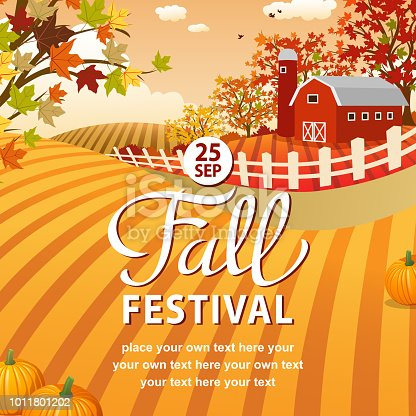 Enjoy the nature, farm and outdoor at the Fall Festival in autumn farmland