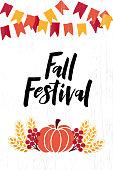 Fall Festival - hand drawn lettering phrase with autumn harvest symbols. Harvest fest poster design. Autumn festival invitation. Fall party template. Vector illustration.