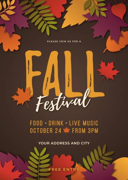 Fall festival poster template. vector art illustration