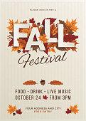 Fall festival poster template. Stock illustration