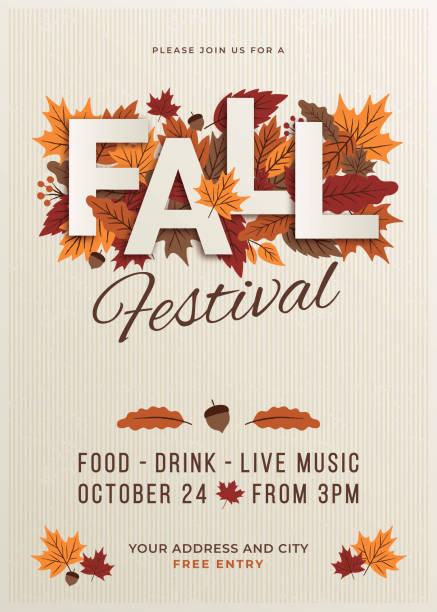bildbanksillustrationer, clip art samt tecknat material och ikoner med fall festival affisch mall. - falla