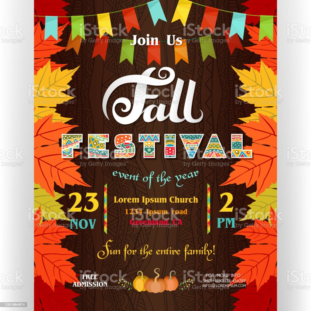 Fall Festival Poster Template With Leaves Of Maple And Flags