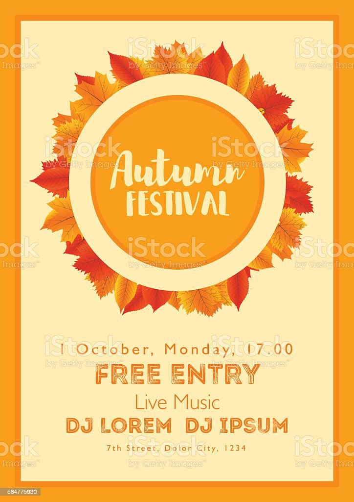 fall festival template bright colourful autumn leaves on vertical