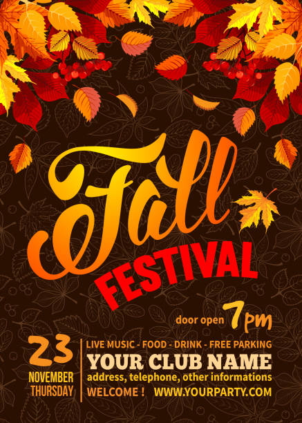 Fall festival Fall Festival flyer or poster template. Bright autumn leaves on dark background with line art leaves pattern. Calligraphic inscription Fall Festival and space for your text. Vector illustration. fall stock illustrations