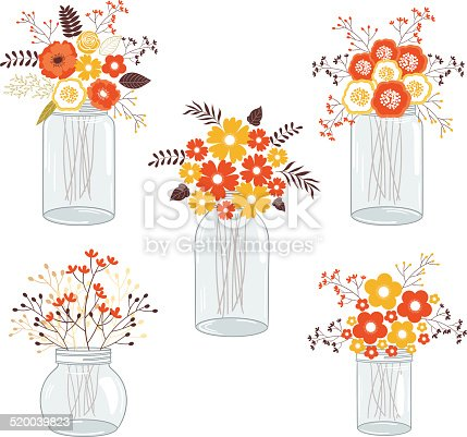 Set of 5 mason jars with fall flowers