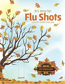 Fall Flu or Influenza Shot Poster Template. Features a bare tree with leaves falling. There is a hanging swing in the tree and dry grass at the bottom.. It's time for you flu shot. Ideal for a flu shot or flu jab poster or flyer.