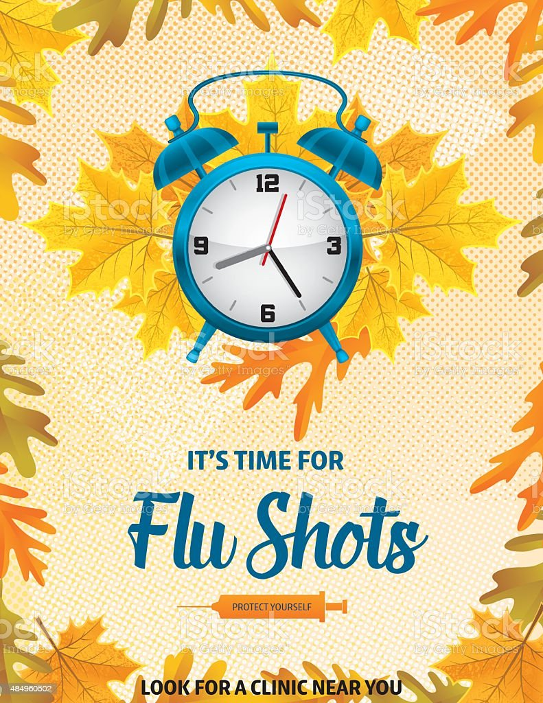 Fall Flu Or Influenza Shot Poster Template Stock Vector