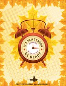 Fall Flu or Influenza Shot Poster Template. Features fall leaves and a clock. It's time for you flu shot.