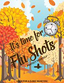 Fall Flu or Influenza Shot Poster Template. Features fall leaves in a forest and a clock. It's time for you flu shot.