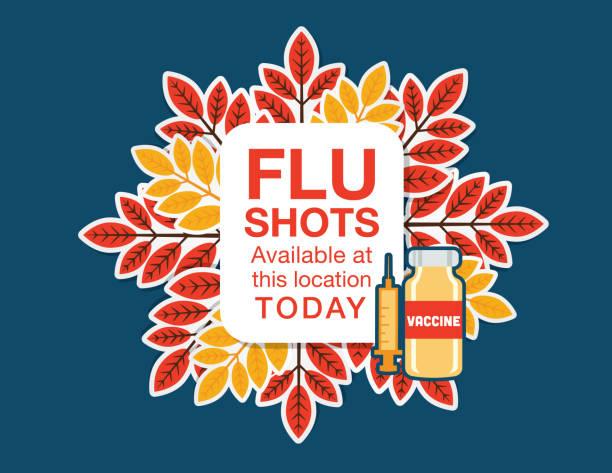 herbst-grippe schuss impfung gestaltungselement - grippeimpfung stock-grafiken, -clipart, -cartoons und -symbole