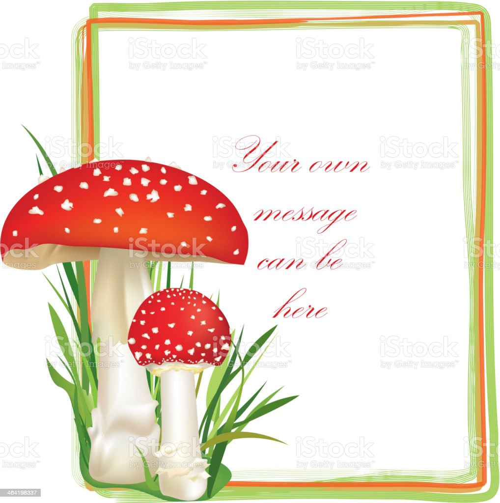 Fall frame. Red poison mushroom decor vector art illustration