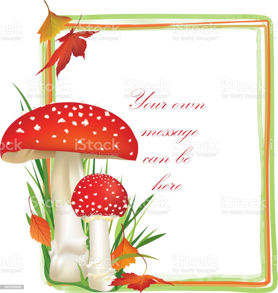 Fall frame. Red poison mushroom vector art illustration