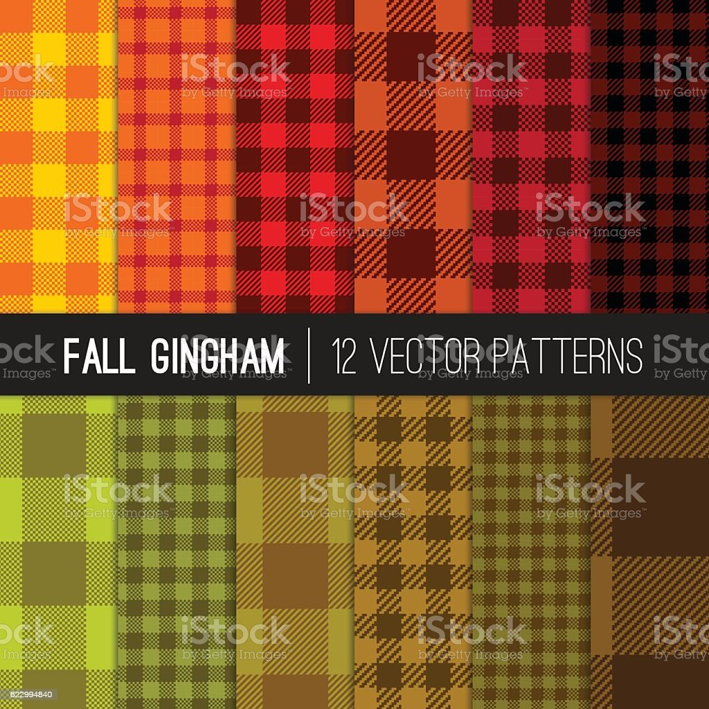 Fall Gingham Buffalo Check Plaid Seamless Vector Patterns Warm Colors. vector art illustration