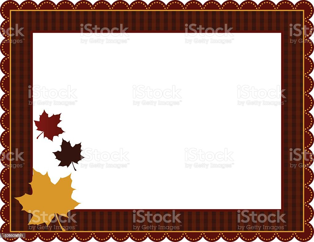 Fall Gingham Frame vector art illustration