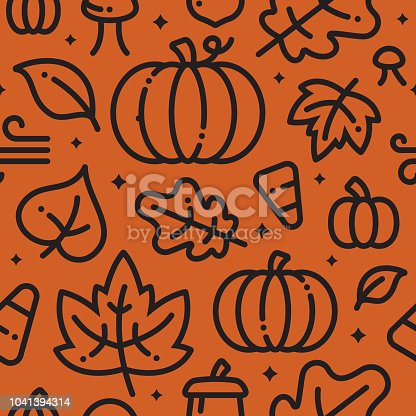 Halloween fall autumn leaves and pumpkins background.
