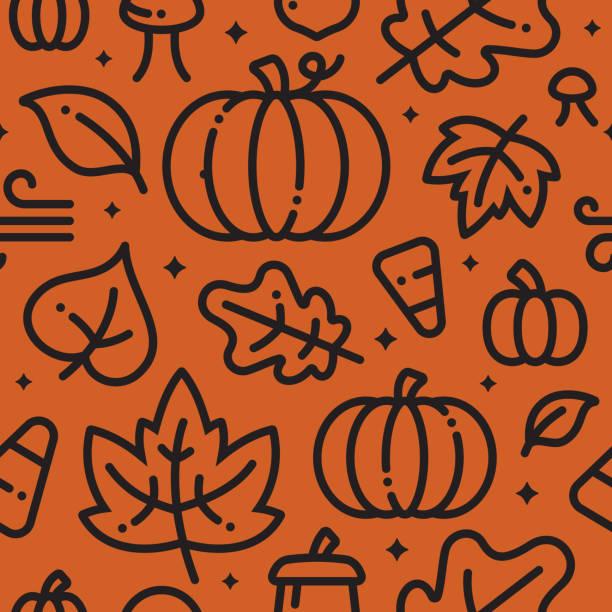 Fall Halloween Seamless Background Halloween fall autumn leaves and pumpkins background. pumpkin stock illustrations