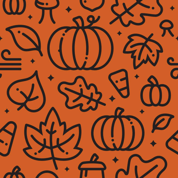 Fall Halloween Seamless Background Halloween fall autumn leaves and pumpkins background. maple leaf illustrations stock illustrations