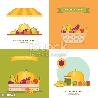 istock Fall harvest festival vector illustrations set 611885936