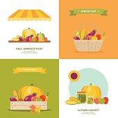 istock Fall harvest festival vector illustrations set 611885936