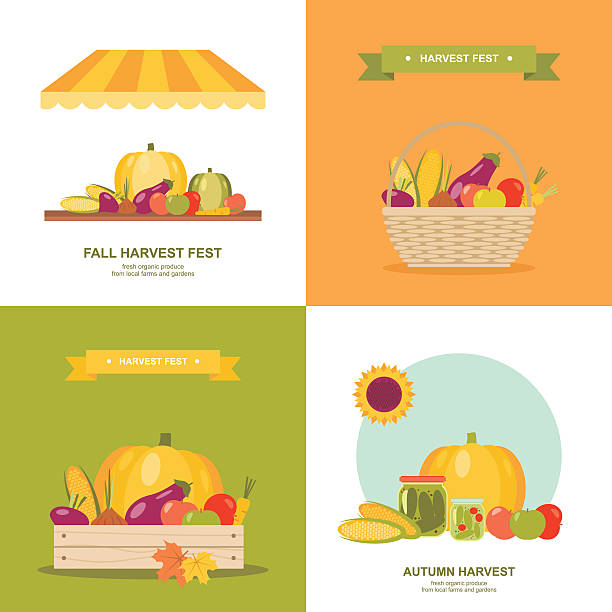 Fall harvest festival vector illustrations set  Set of colorful vector illustrations or icons for fall/autumn harvest market festival in modern flat design. Easy to edit, elements are grouped and in separate layers. agricultural fair stock illustrations