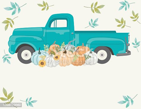 Vintage truck filled with autumn harvest elements. File is created in CMYK and comes with a large high resolution jpeg.