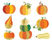 Fall Harvest Pumpkin with Gold Accent Vector
