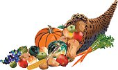 Fall Harvest Wicker Cornucopia Filled With Fruits and Vegetables. Horn of plenty full of  carrots,grapes,apples,corn,pumpkin,squash, and potatoes. Thanksgiving fall harvest symbol. The fruits and vegetables are done in bright autumn colors.
